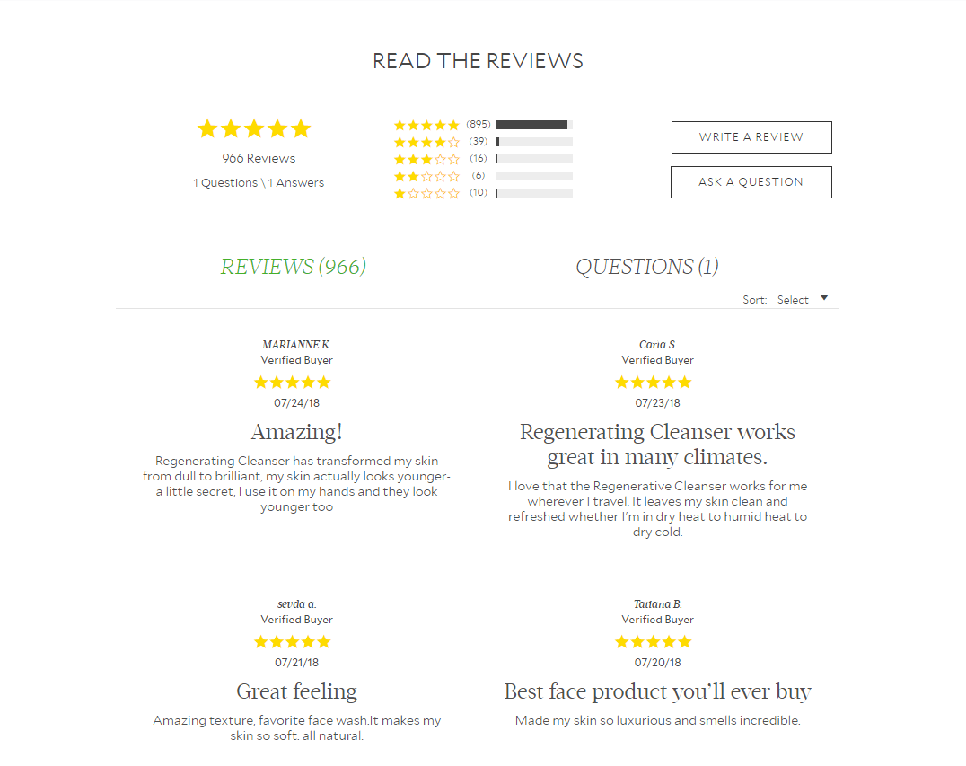 examples of excellent reviews